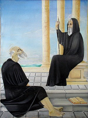 Fantinus - Painting of Saint Fantinus (on the right).  Sanctuary of San Nicodemo, Mammola.