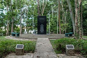 Sandakan Memorial Park - The memorial obelisk.
