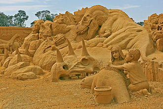 Sand art and play - Sand art has progressed well beyond simple sand castles, such as this elaborate sand sculpting display in Frankston, Victoria, Australia