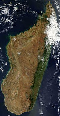 マダガスカル島の衛星写真
