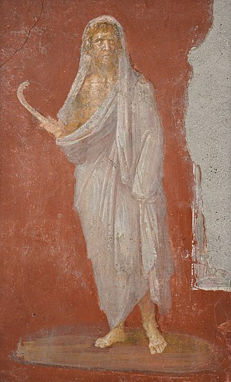 Saturn (mythology) - Saturn with head protected by winter cloak, holding a sickle in his right hand (fresco from the House of the Dioscuri at Pompeii, Naples Archaeological Museum)