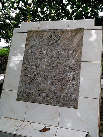 19th Infantry Regiment (United States) - Plaque commemorating the landing of American liberation forces in Sawang, Romblon during World War II