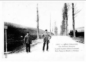 Guillaume Schnaebelé - Photograph taken soon after, standing on the French road with backs to the German railway embankment. The square-top border pole marker can be seen.