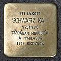 Schwarz Kati stolperstein (Budapest-05 Arany János u 27).jpg
