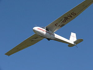 Glider pilot license - The Schweizer SGS 2-33 glider is commonly used for glider pilot training in North America