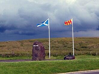 Flag of Northumberland - Scottish and Northumberland flags at Carter Bar