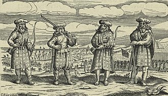 Kilt - One of the earliest depictions of the kilt is this German print showing Highlanders around 1630