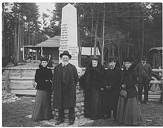 Denny Party - Seattle pioneers at the dedication of the Alki Point Monument - Left to right: Lenora Denny, Carson D. Boren, Mary A. Denny, Rolland H. Denny, and Mary Low Sinclair on November 13, 1905