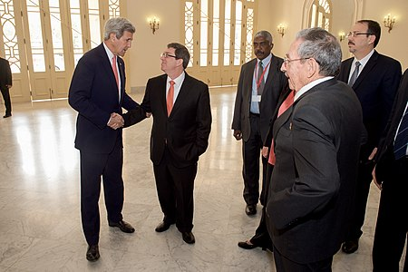 Secretary Kerry Shakes Hands With Cuban Foreign Minister Rodriguez Before Attending President Obama's Speech to the Cuban People in Havana (25893698601).jpg