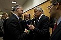 Secretary of Defense Chuck Hagel stops for a brief meeting with Italian Minister of Defense Mario Mauro.jpg