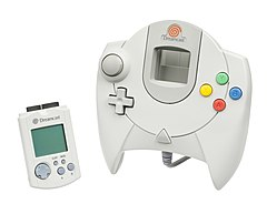 A Dreamcast controller with accompanying Visual Memory Unit (VMU).