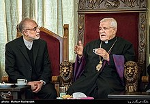 Sepuh Sargsyan, archbishop of the Armenian Diocese of Tehran visit AliAkbar Salehi head of Atomic Energy Organization of Iran at Tehran Prelacy 15.jpg