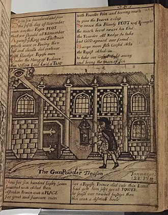 """The Gunpowder Treason"" in a Protestant Bible of the 18th century. Sheares Bible Gunpowder Plot.jpg"
