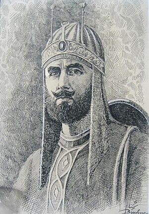 Sher Shah Suri - Imaginary sketch work of Sher Shah Suri by Afghan artist Abdul Ghafoor Breshna