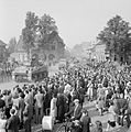 Sherman tanks advancing through cheering crowds in Valkenswaard, Holland, 18 September 1944. BU932.jpg
