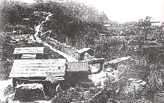 Satsuma Rebellion - Imperial Japanese Army fortifications encircling Shiroyama. 1877 photograph.