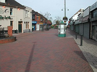 Kirkby-in-Ashfield - Pedestrianised street, looking towards the market area