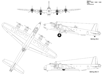 3-view projection of Short Stirling Mark I, with profile inset of the glider-towing and transport Mark IV.
