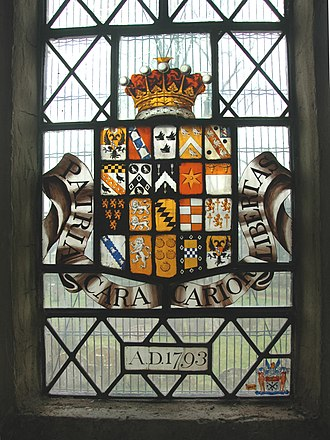 Earl of Radnor - Coat of arms of Jacob Pleydell-Bouverie, 2nd Earl of Radnor, dated 1793, in the east window of the chancel of St. Andrew's parish church, Shrivenham