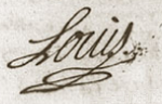 Signature of Louis, Dauphin of France at his own wedding 23 February 1745.png