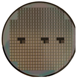 Motorola 6800 -  A silicon wafer holding many integrated circuit chips