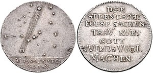 Great Comet of 1680 - Commemorative coin depicting the comet, Hamburg, 1681