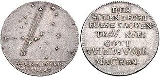 Great Comet of 1680 - Commemorative coin depicting the comet, Hamburg, 1681