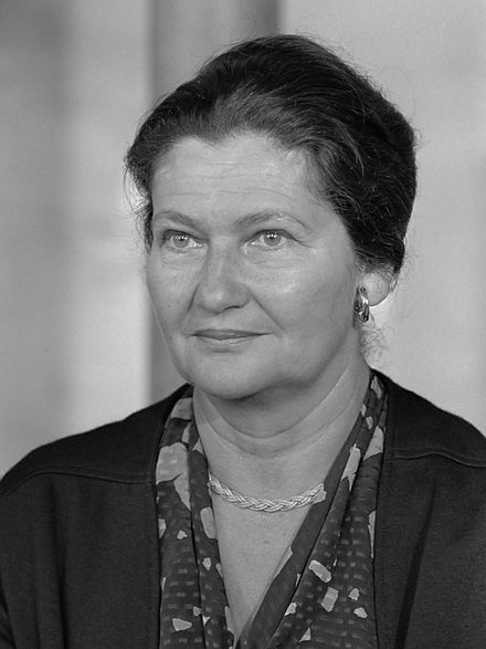 Simone Veil (1927-2017), former French Minister of Health (1974-79). She made easier access to contraceptive pills and legalized abortion (1974-75) - which was her greatest and hardest achievement. Simone Veil (1984).jpg