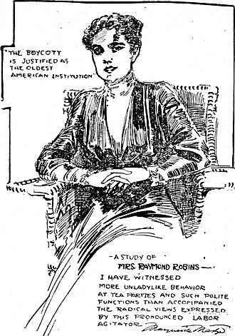 Margaret Dreier Robins - Sketch by journalist Marguerite Martyn, with her reaction to the interview, 1910