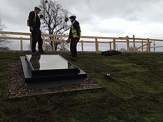 National Star College - Sky Garden green roof installers putting the finishing touches to the sedum roof.