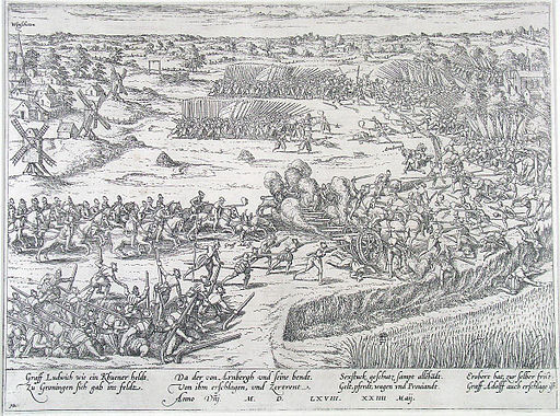 Slag bij Heiligerlee - Battle of Heiligerlee - 1568 (Frans Hogenberg)