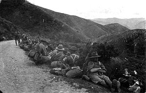 Rimutaka Range - WWI Soldiers resting on the Rimutaka hill road