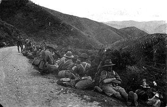 Remutaka Range - WWI Soldiers resting on the Rimutaka hill road