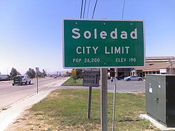 City limit sign seen as entering into Soledad