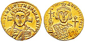 "Justinian II - Justinian, on the reverse of this coin struck during his second reign, is holding a patriarchal globe with PAX, ""peace"""