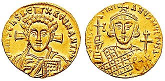 Byzantine economy - Gold solidus of Justinian II (4.42 g). Struck after 692.
