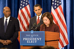 English: Hilda Solis speaks as the newly annou...