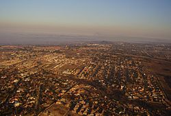 Aerial view over the suburbs