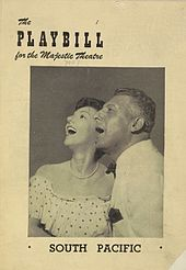 Cover of the Playbill for the original production at the Majestic Theatre. It bears a photograph of a man in his 50s (Pinza) beside a somewhat younger woman (Martin). Both are formally dressed and look upwards and to the left with their mouths open, as if singing together.