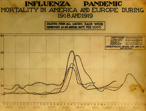 A chart of deaths in major cities, showing a peak in October and November  1918
