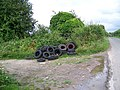 Spare tyres, Drove Lane - geograph.org.uk - 876752.jpg