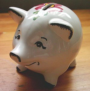 Piggy bank from German bank HASPA, around 1970.