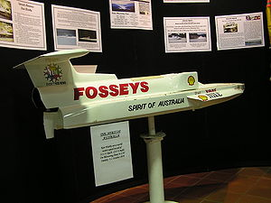 Water speed record - A model of Spirit of Australia in which Ken Warby set the world water speed record in 1978 on Blowering Dam, New South Wales, Australia