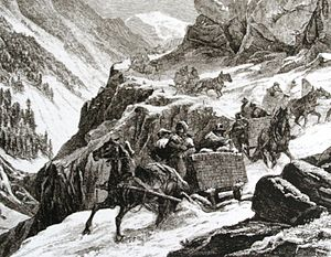 Splügen Pass - Historic depiction of crossing Splügen Pass in winter
