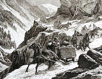 Splügen Pass - Historic depiction of crossing Splügen Pass in winter