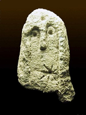 Solar deity - A solar representation on an anthropomorphic stele dated from the time period between the Copper Age and the Early Bronze Age, discovered during an archaeological excavation on the Rocher des Doms, Avignon.
