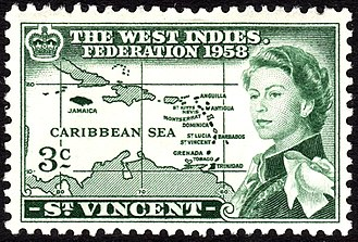 West Indies Federation - A 1958 St. Vincent stamp to mark the establishment of the West Indies Federation