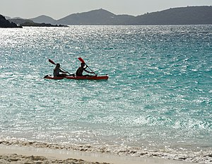 Sea tandem kayaking at Trunk Bay on St. John