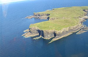 Staffa - Aerial view of Staffa, with The Colonnade in the foreground and Am Buchaille to the right