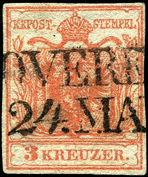 Postage stamps and postal history of Austria - Stamp of 1850 of the KKPost, on handmade paper